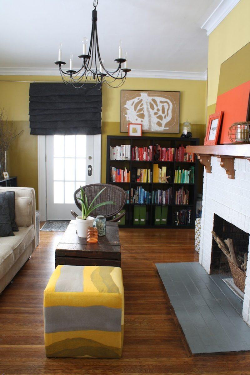 Updated Living Room Rainbow Bookshelf Colorful Ottomans Large Art