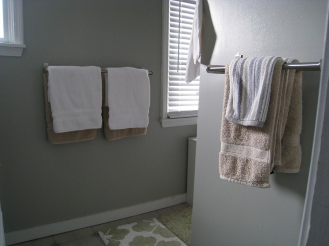 My initial bedroom updates involved painting the walls and installing new towel racks.