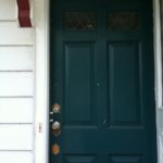 New-to-me wooden front door with leaded glass. This photo was taken the day the door was installed.
