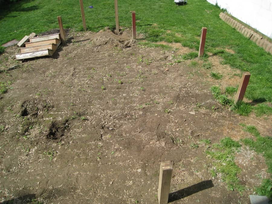 Aerial view of the backyard from an upstairs room.