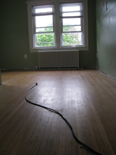 Step 1: Remove carpet. The floors had not been refinished yet in this shot, but they still look pretty good.