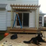 First pergola completed! (Another will go over the raised area in the back right, stay tuned.)