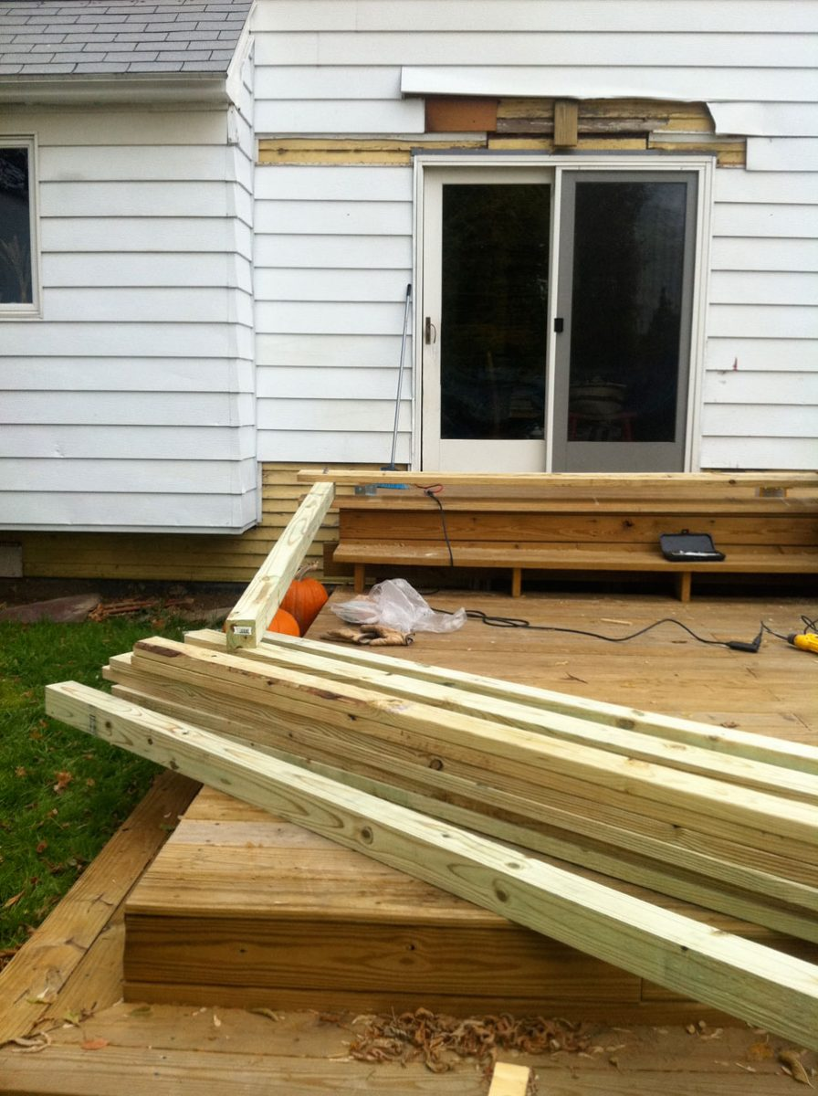 Love fresh lumber. Pergola framing is going up.