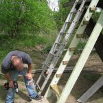 Used the aluminum ladder as a template for the new treehouse ladder.