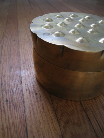 "Copper container from Anthropologie. It's about 5"" wide and 4"" tall."