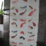 Fish wrapping paper, framed.