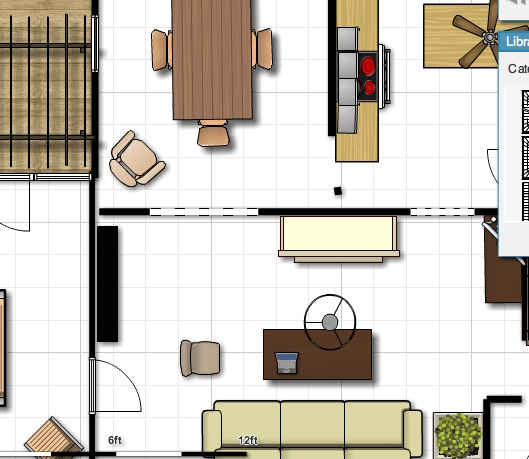 Using an online tool to plan your living space floor plan.