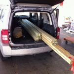 Lumber loaded in. 8-footers are the only boards that can fit in and still let the Jeep gate close.