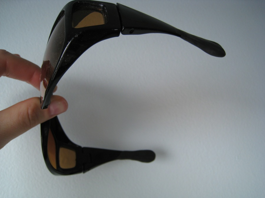 Shortened sunglasses arms... ends buffered with sugru.