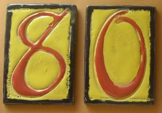 Clay tile numbers from Cirrelda's etsy shop.