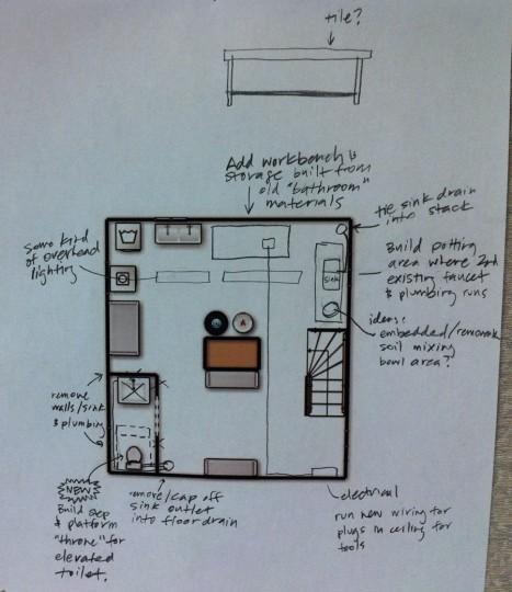 Updated plan for the basement overhaul. New plumbing, lighting, and storage.