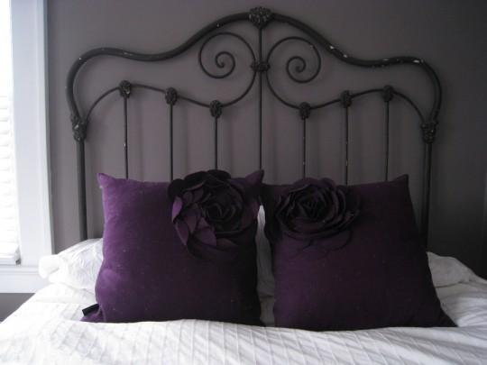 Headboard of the bed. Wrought iron.
