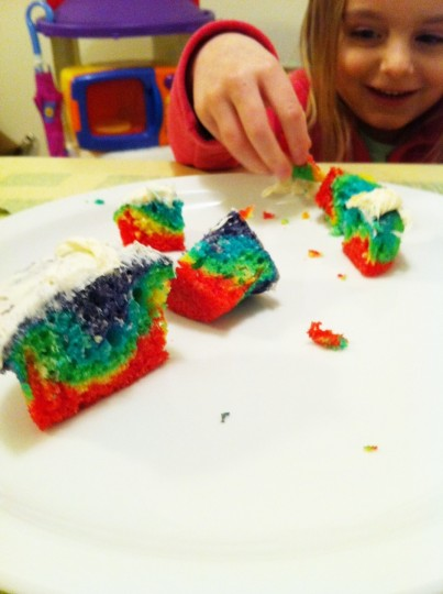 Dissected the cupcake to get the most joy out of the rainbow. Little science experiment.