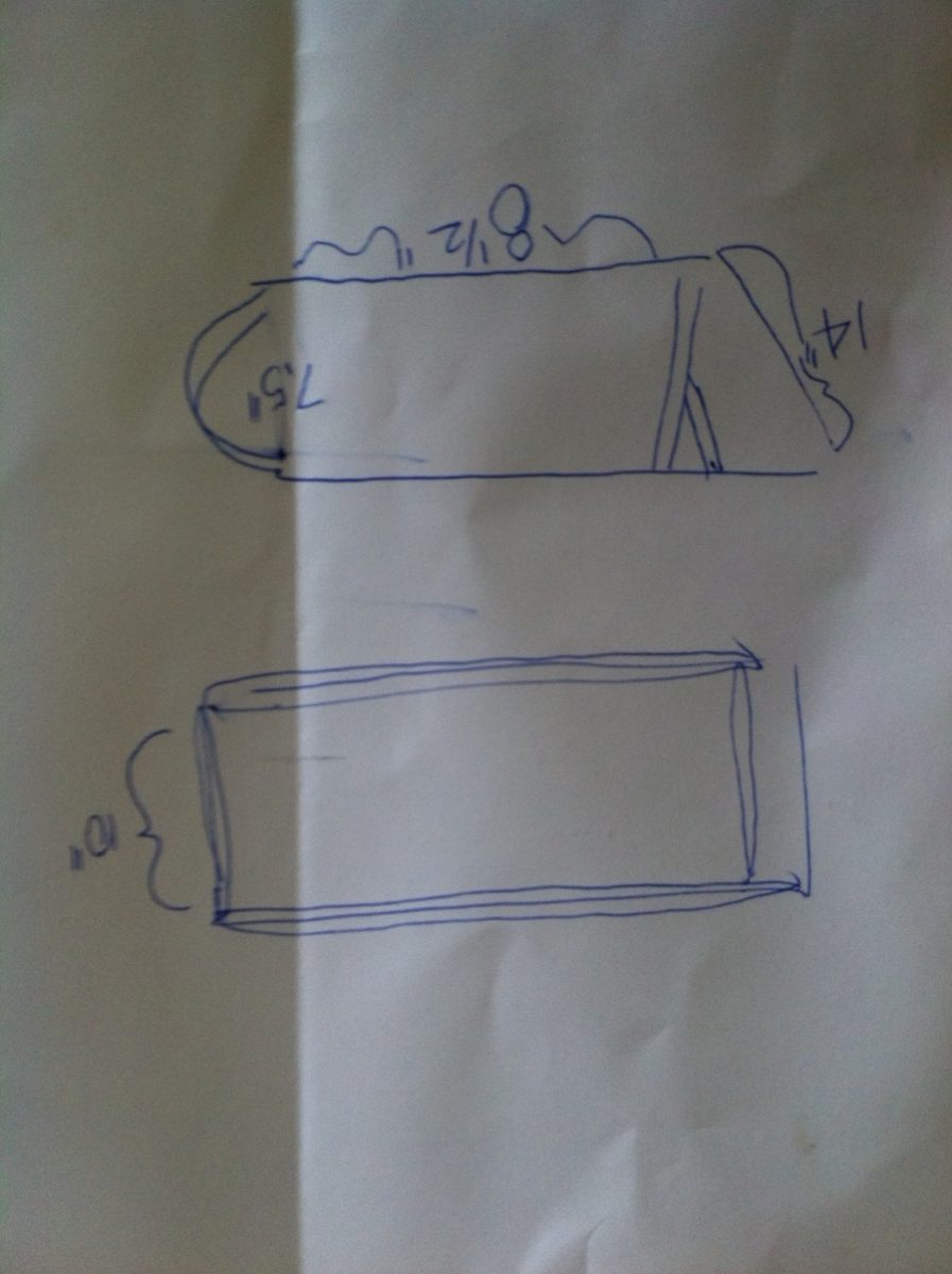 Under seat storage measurements. Not to scale.