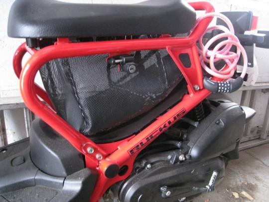 Honda Ruckus bag installed.