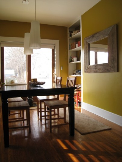 Completed built-ins, from the entryway into the dining room.
