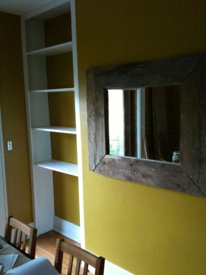 Working on the built-ins; later in the afternoon, but it's all up and installed!