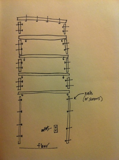 Shelf assembly design. Not necessarily to scale.