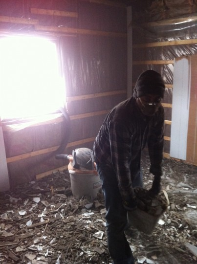 Pete surrounded in poop, lath, and plaster. Not looking happy.