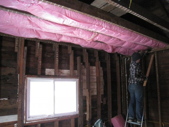 Encapsulated attic insulation going up very easily!