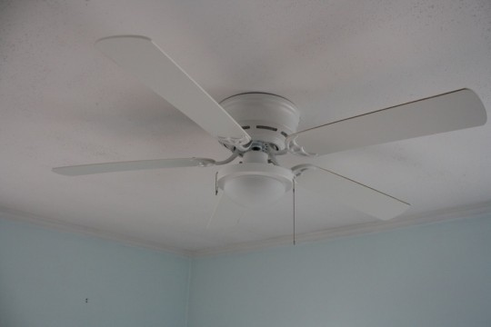 Guest bedroom ceiling fan. Also, the identical twin to the master bedroom ceiling fan. Harbor Breeze from Lowe's.