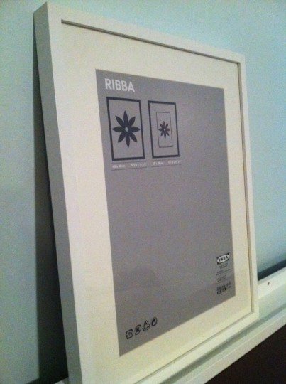 An IKEA RIBBA frame. See the gray mat? I put that to good use.