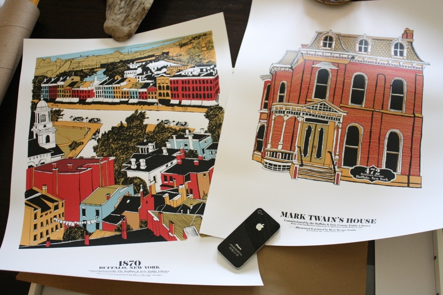two purchased prints from hero design both were commissioned by the buffalo public library