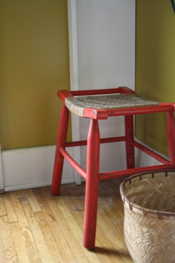 A dining room stool. A good find from a garage sale last summer.