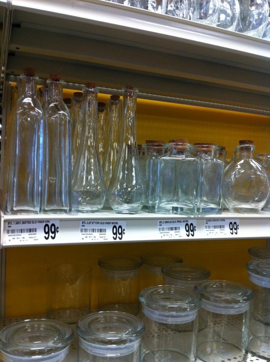 Glass containers at a large craft store. Lots to choose from, all very affordable.