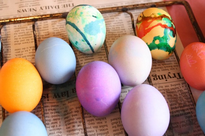 Easter egg dying.