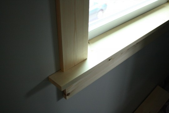 Close-up on a brand new window sill.
