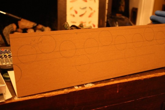 Lightly drawn stencil of circles.