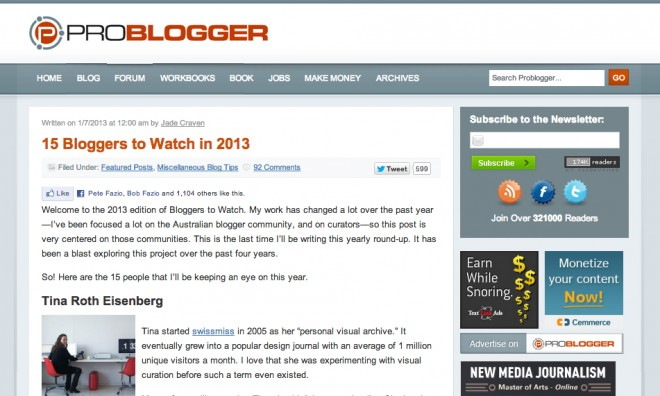 ProBlogger: 15 Bloggers to Watch in 2013