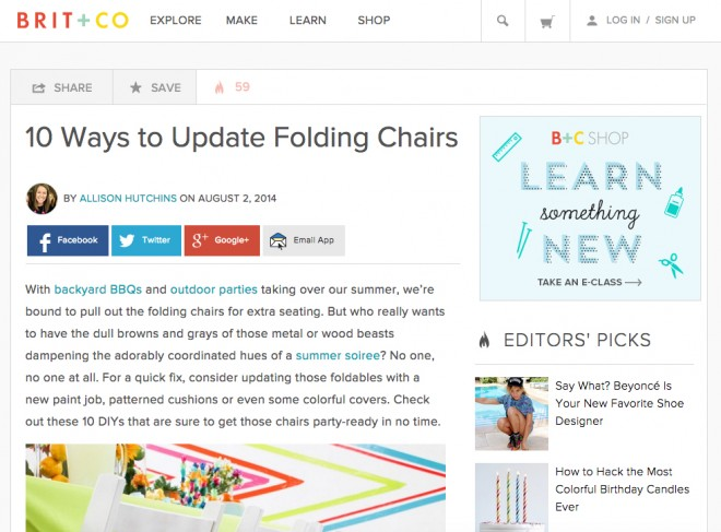 Brit+Co feature on folding chairs.