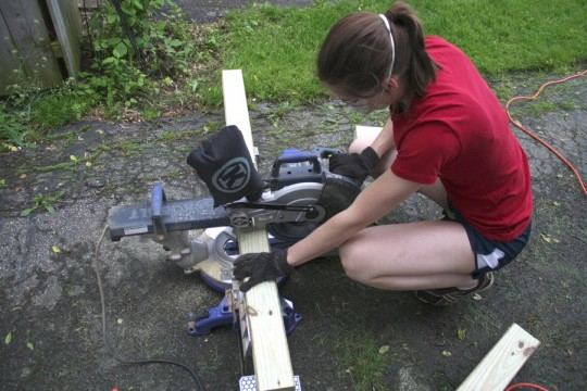 Miter sawing my little heart out.