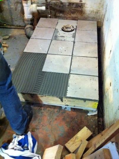 Platform tile going in!