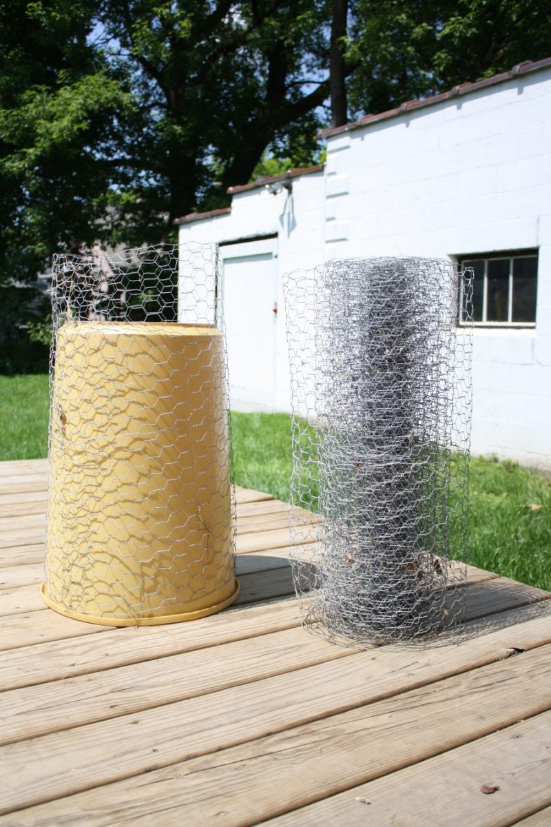 Garbage pail, wrapped in chicken wire to form a frame for my sidetable.