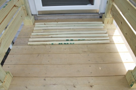 "Doormat layout in the front entryway. Boards were 36"" long."
