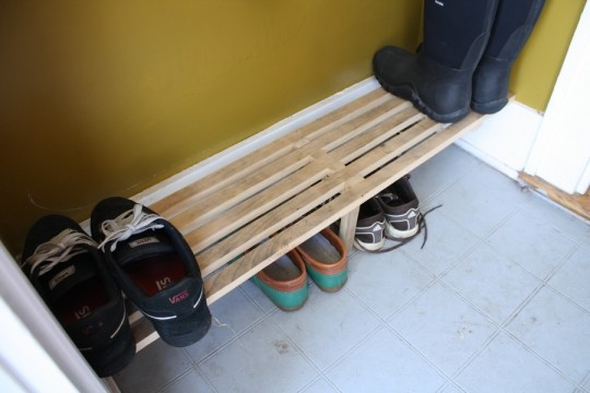 Entryway shoe rack.