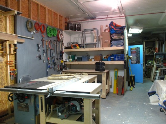 Studio space with pegboard.