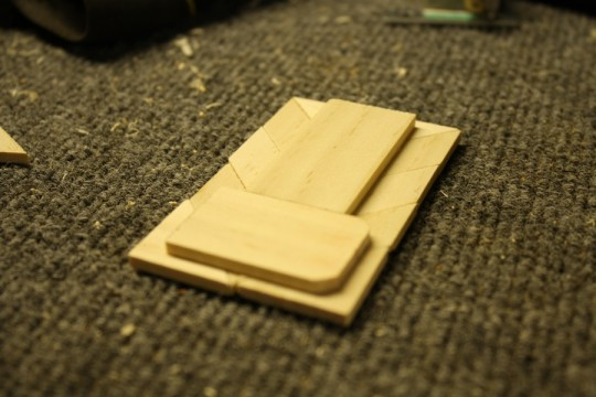Back panels used to attach the pieces together securely with wood glue.