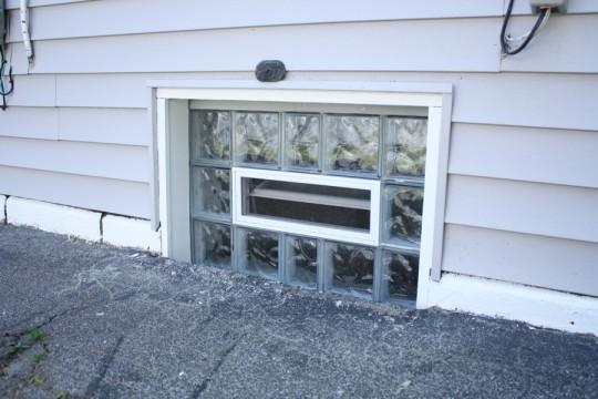 Framed glassblock window.