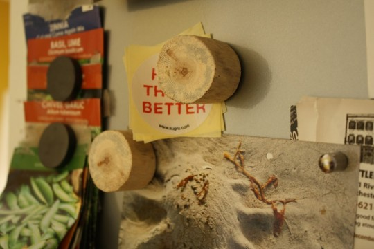 Finished driftwood magnets doin' their thing.