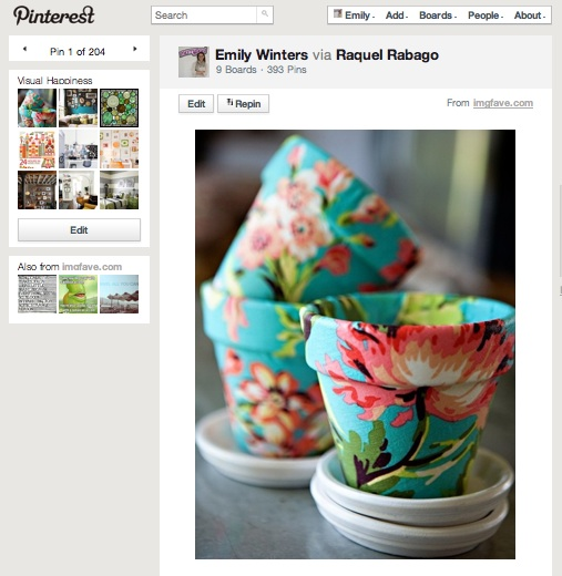 Pretty fabric covered planters via Pinterest.