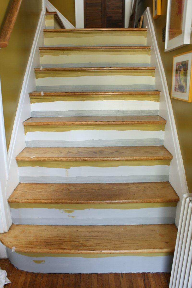 how to paint stripes on stairs merrypad. Black Bedroom Furniture Sets. Home Design Ideas