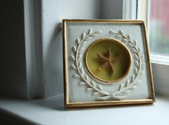 New garage sale frame displaying a starfish mounted on a paint chip.