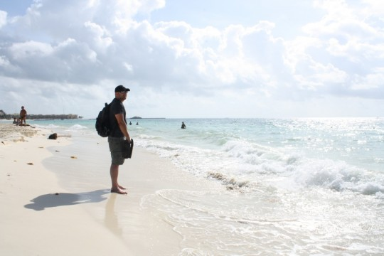 Pete, and the beach at Playa del Carmen, Mexico.