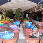Restaurant in Playa del Carmen, Mexico. We liked the colorful tablecloths.