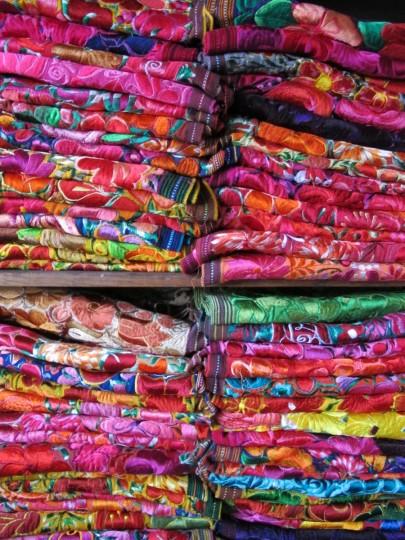 Colorful tapestries in Playa del Carmen.