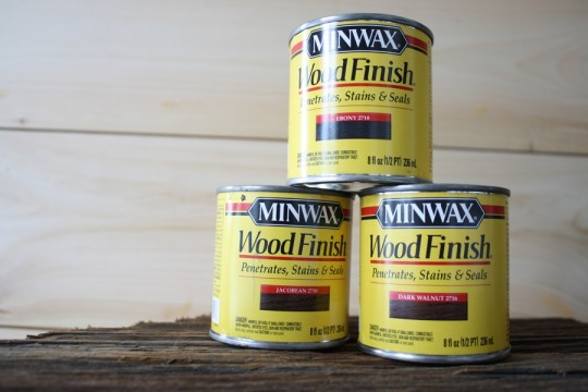 Minwax stain samples from Home Depot. $4.50 each.